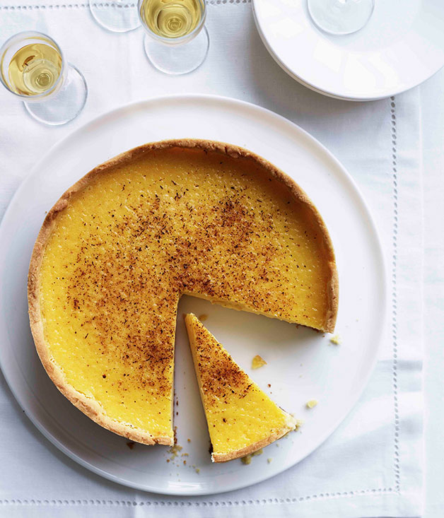"[**Custard tart**](https://www.gourmettraveller.com.au/recipes/chefs-recipes/custard-tart-7828|target=""_blank"")"
