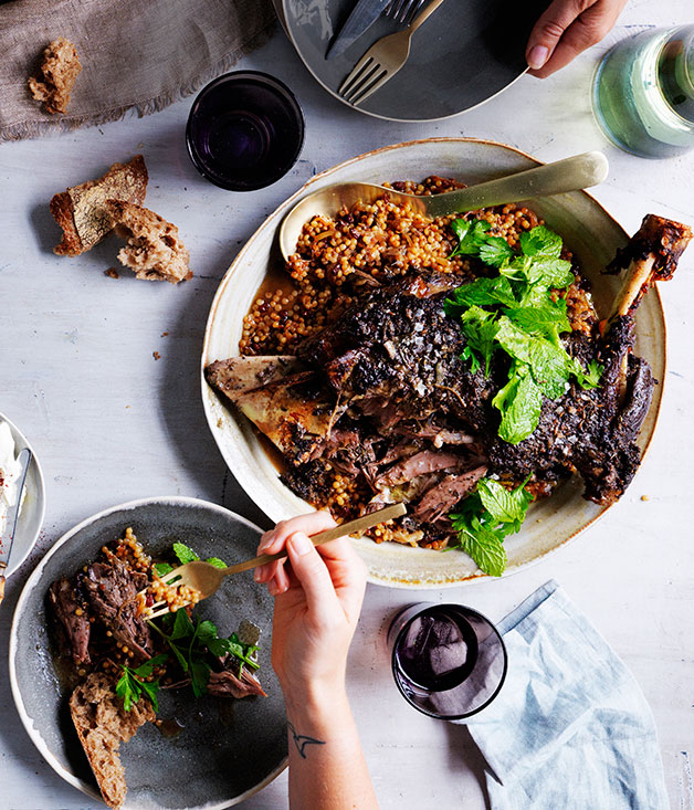 "[**Eight-hour lamb shoulder with Israeli couscous and labne**](https://www.gourmettraveller.com.au/recipes/browse-all/eight-hour-lamb-shoulder-with-israeli-couscous-and-labne-11993|target=""_blank"")"